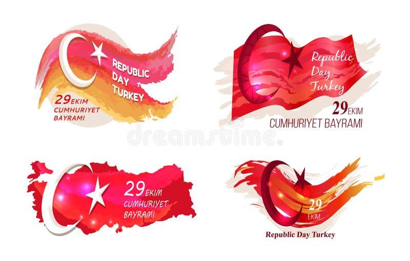 Vektor-Illustration der Tag der Republik-Türkei am 29. Oktober stock abbildung