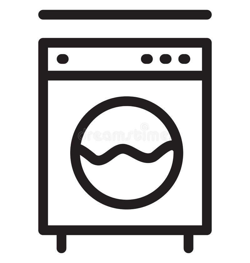 Vektor-Illustration der Waschmaschinen-einzelnen Zeile lizenzfreie abbildung