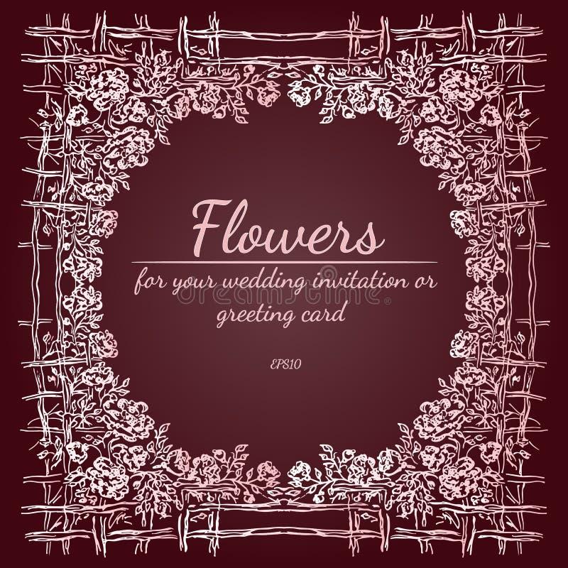 Vektor-Illustration des abstrakten Rahmens von Rose oder von Pfingstrosen-Blumen mit Zaun Blumenrahmengestaltungselemente f?r Hei vektor abbildung