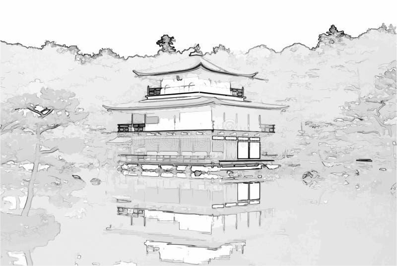 Vektor-Illustration des goldenen Pavillons - Kyoto, Japan stock abbildung