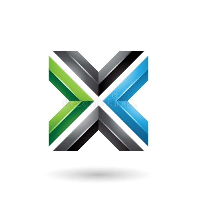 Vektor-Illustration des grün-blaues und schwarzes Quadrat-geformte Buchstabe-X lizenzfreie abbildung