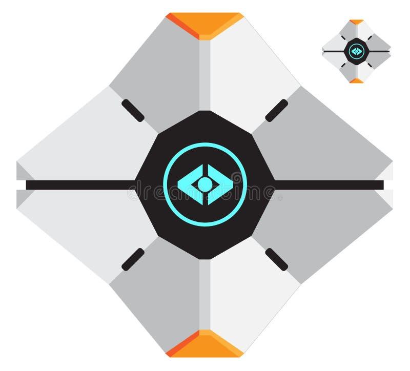 Vektor-Illustration des ikonenhaften Geistes von Bungie in Destiny Game vektor abbildung