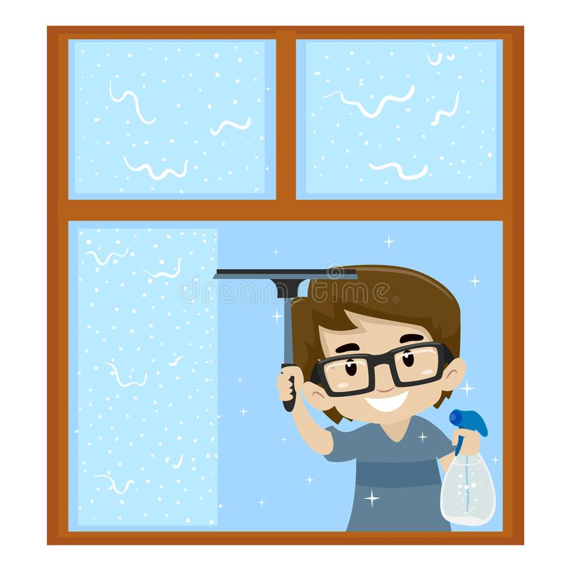 Vektor-Illustration des Jungen das Fenster säubernd lizenzfreie abbildung