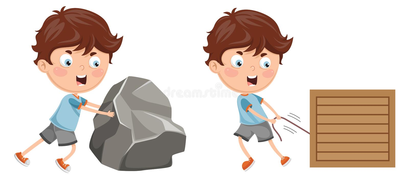 Vektor-Illustration des Kindes drückend und ziehend lizenzfreie abbildung