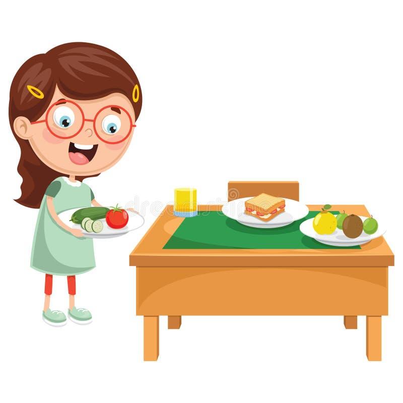 Vektor-Illustration des Kindes Frühstück zubereitend stock abbildung