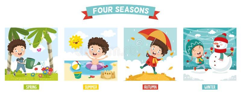 Vektor-Illustration des Kindes und des Four Seasonss lizenzfreie abbildung