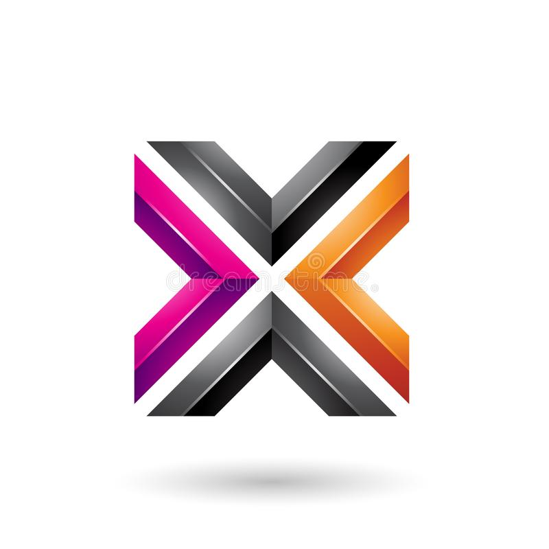 Vektor-Illustration des orange Magenta-und schwarzes Quadrat-geformte Buchstabe-X stock abbildung