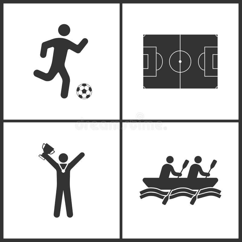 Vektor-Illustration des Sports stellte Ikonen ein Elemente von Fußballspielern, Fußballplatz, Sieger mit Cup und Rowings-Ikone vektor abbildung