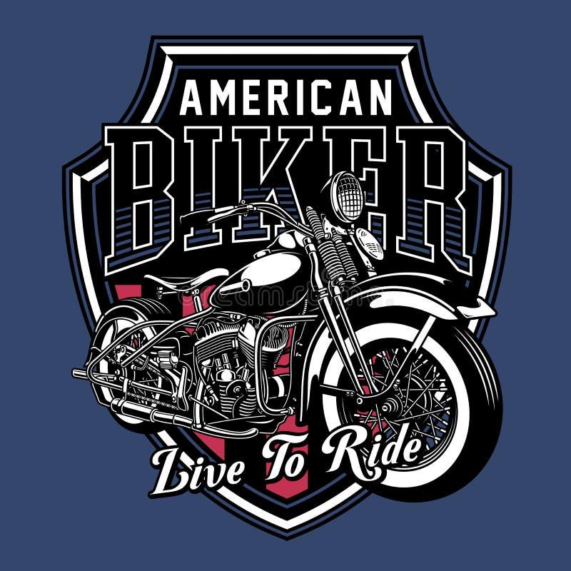 Vektor-Illustration des Weinlese-Motorrad-Emblems stock abbildung