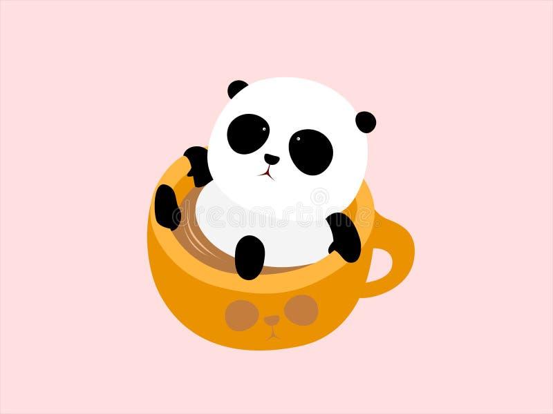 Vektor-Illustration: Ein netter Karikaturgroßer panda, der in einem Tasse Kaffee, genießend liegt, ein Bad in der heißen Quelle n stock abbildung