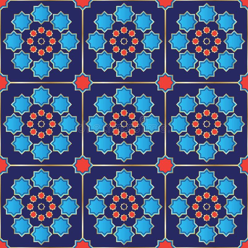 Vektor-Illustration einer nahtlosen türkischen Fliese stock abbildung