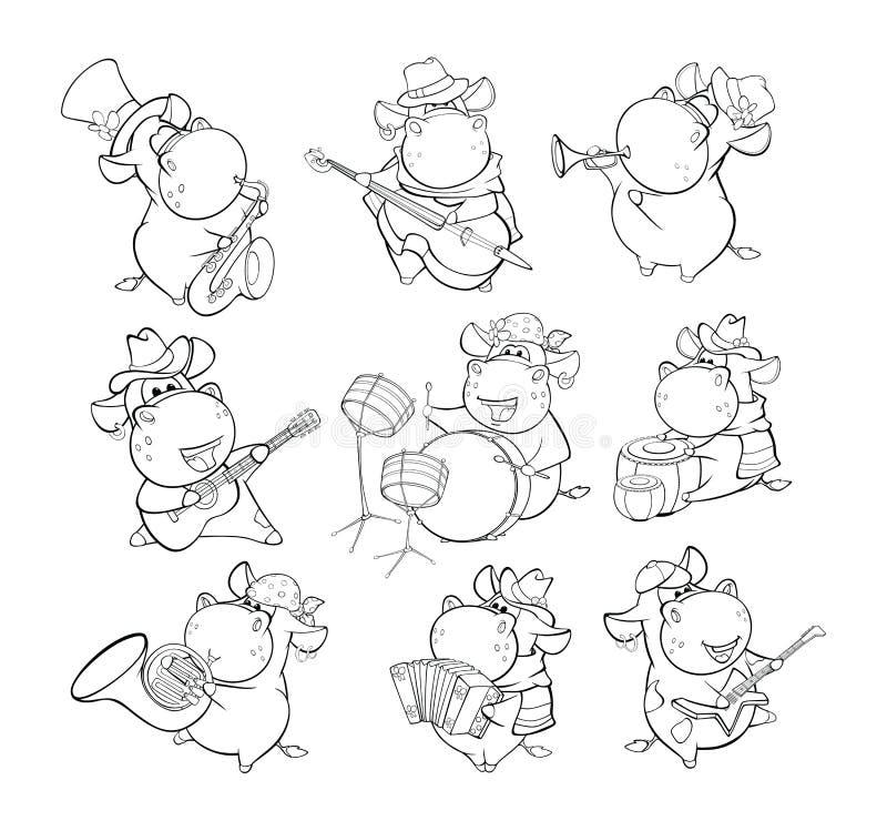 Vektor-Illustration einer netten Zeichentrickfilm-Figur-Kuh f?r Sie Entwurf und Computer-Spiel Malbuch-Entwurfs-Satz vektor abbildung