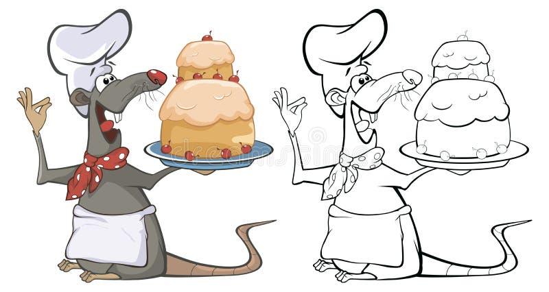 Vektor-Illustration einer netten Zeichentrickfilm-Figur-Ratte für Sie Entwurf und Computer-Spiel Malbuch-Entwurfs-Satz vektor abbildung