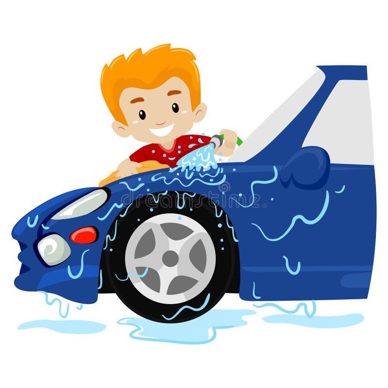 Vektor-Illustration eines Jungen, der das Auto wäscht stock abbildung