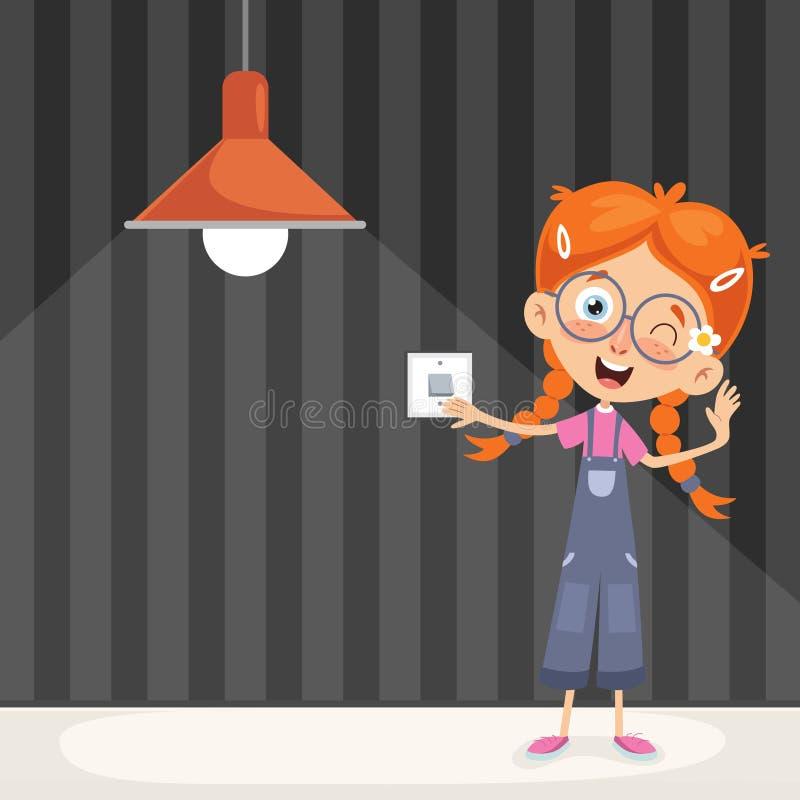 Vektor-Illustration eines Kindes, welches das Licht einschaltet vektor abbildung