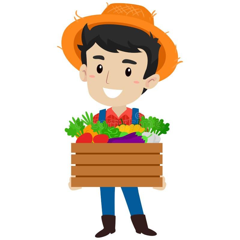Vektor-Illustration eines Landwirts Man, das einen Kasten Vielzahl des Gemüses hält lizenzfreie abbildung