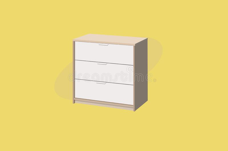 Vektor-Illustration eines Wandschranks oder der Garderobe mit 3 F?chern H?lzernes Parkett stock abbildung