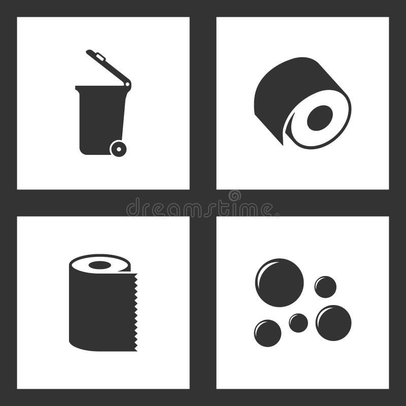 Vektor-Illustration eingestellte Reinigungsikonen Elemente des Abfalleimers, des Toilettenpapiers, der Papierhandtuch-Servietten- vektor abbildung
