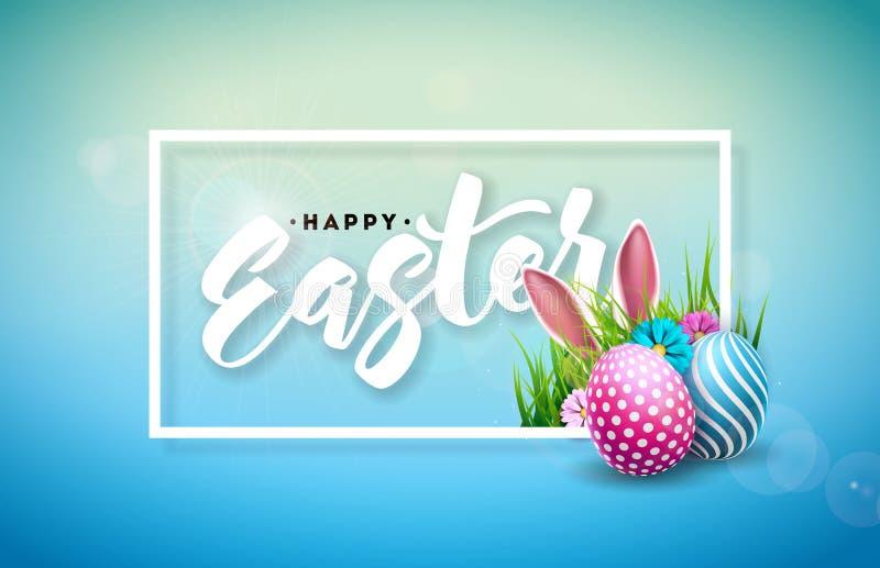 Vektor-Illustration glücklichen Ostern-Feiertags mit gemaltem Ei, den Hasenohren und Frühlings-Blume auf glänzendem blauem Hinter vektor abbildung