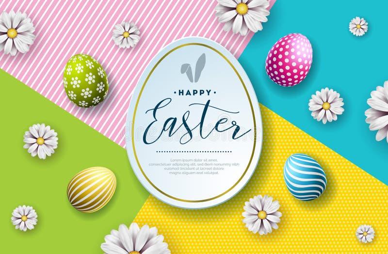 Vektor-Illustration glücklichen Ostern-Feiertags mit gemaltem Ei und Blume auf abstraktem Hintergrund international stock abbildung