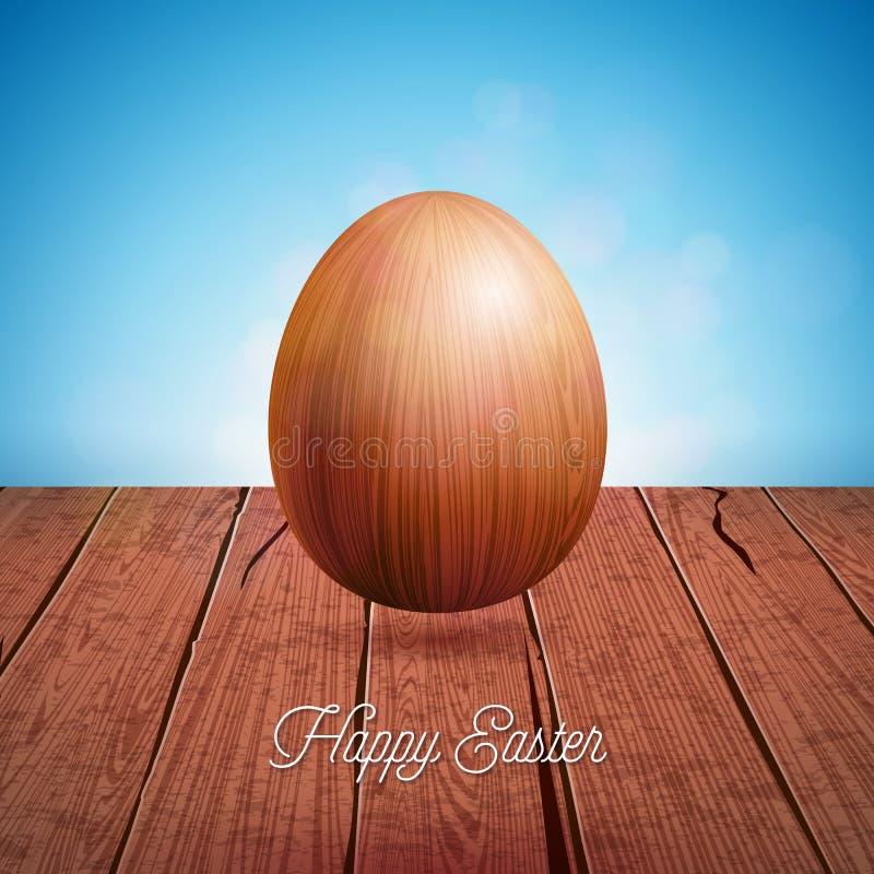 Vektor-Illustration glücklichen Ostern-Feiertags mit hölzernem Ei auf Weinlese-Natur-Hintergrund Internationale Feier stock abbildung