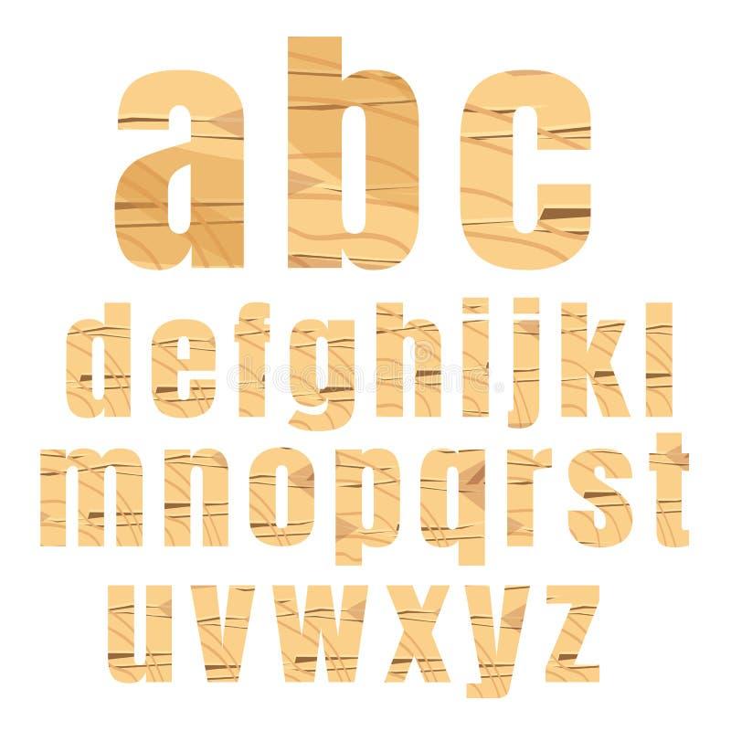 Vektor-Illustration hölzernen Alphabetes a bis z stellte auf weißes backgro ein lizenzfreie abbildung