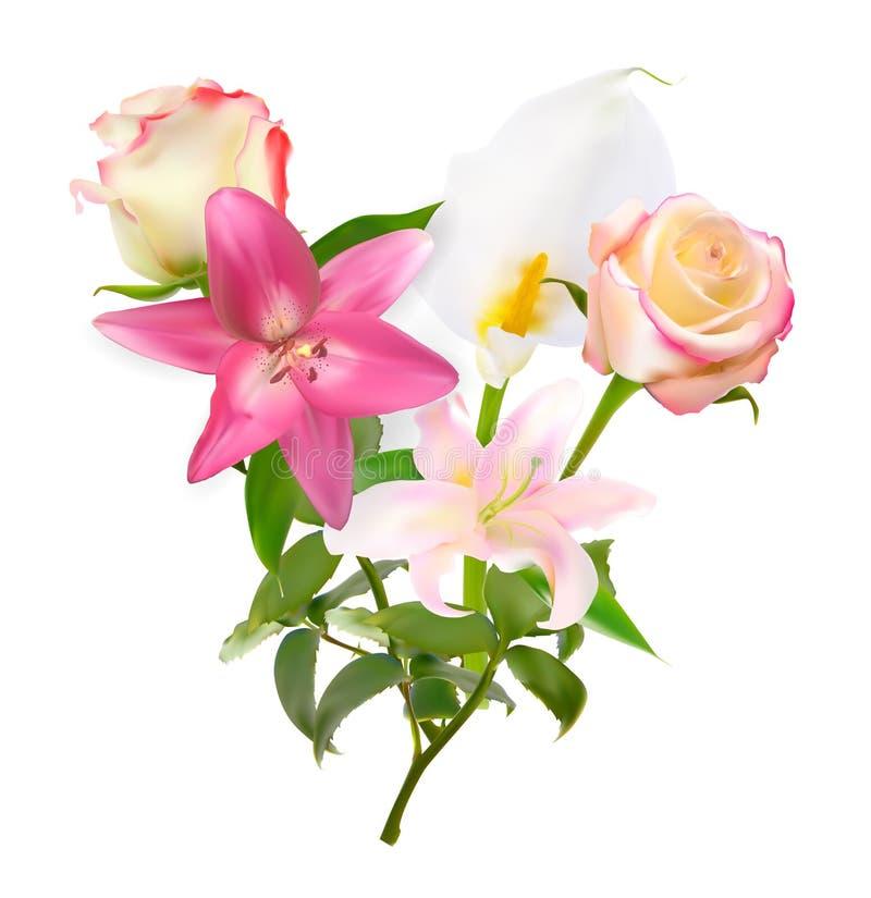 Vektor-Illustration mit der rosa Lilie, Calla und den Rosen lokalisiert auf weißem Hintergrund stock abbildung
