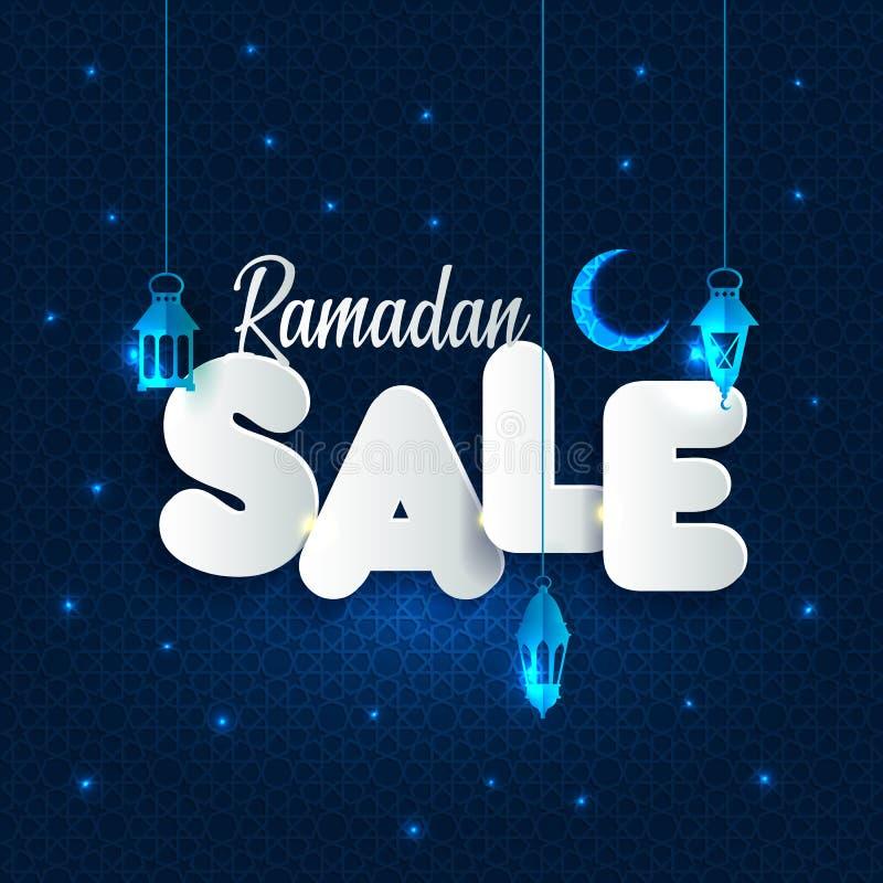 Vektor-Illustration Ramadan Sale Fahne, Rabatt, Aufkleber, Verkauf, Grußkarte, von Ramadan Kareem und von Eid Mubarak lizenzfreie abbildung