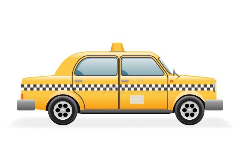 Vektor-Illustration Retro- des Taxi-Auto-Ikonen-realistische Design-3d lizenzfreie abbildung