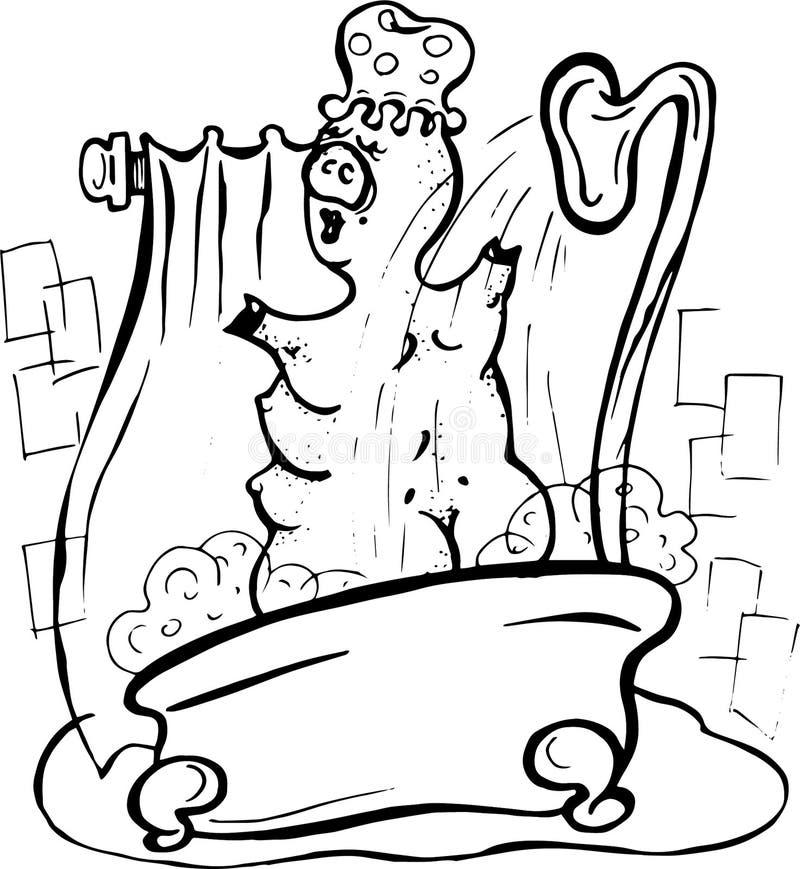 Vektor, Illustration, Schwarzweiss, Schwein, das eine Dusche, Schaum, Badezimmer, Wasser, Dampf, Vergnügen, Ruhe nimmt stock abbildung