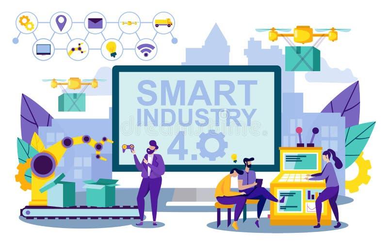 Vektor-Illustration Smart, das Industrie 4 beschriftet stock abbildung