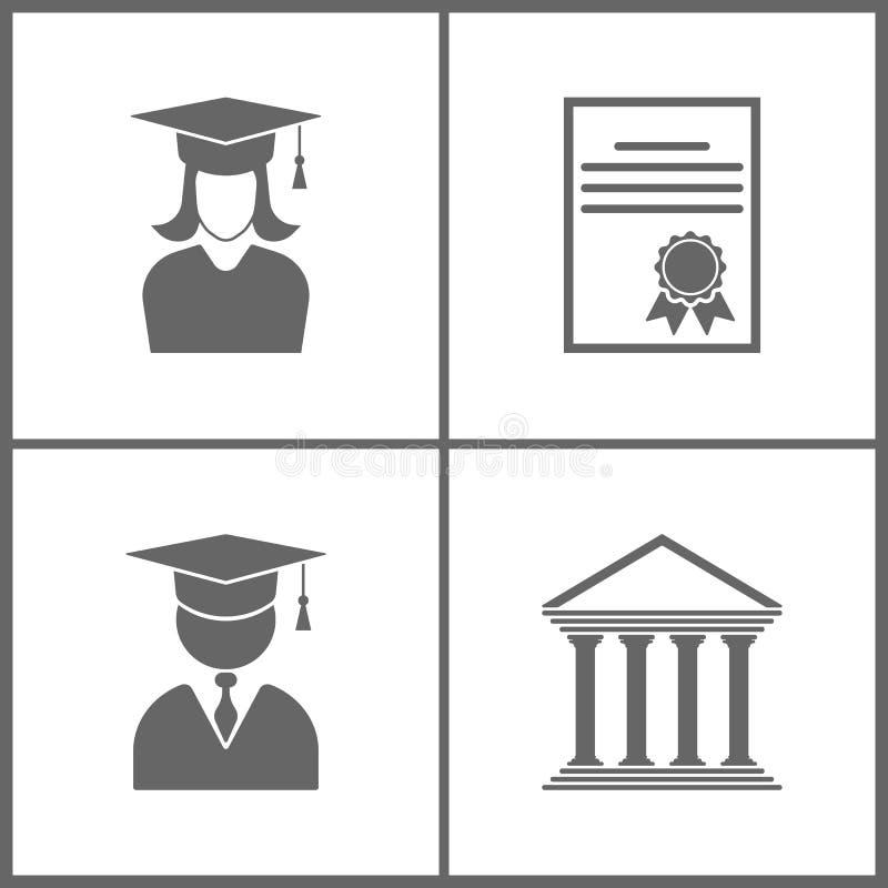 Vektor-Illustration stellte Büro-Ausbildungs-Ikonen ein Elemente des Staffelungsstudentenmädchens, -zertifikats, -avataras mit St lizenzfreie abbildung