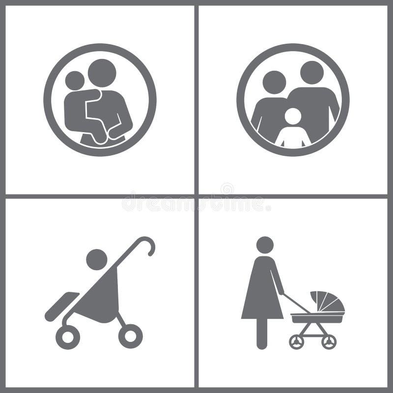 Vektor-Illustration stellte Büro-Verhältnis-Ikonen ein Elemente der Pram-, Nippel-, Baby- und Familienikone vektor abbildung