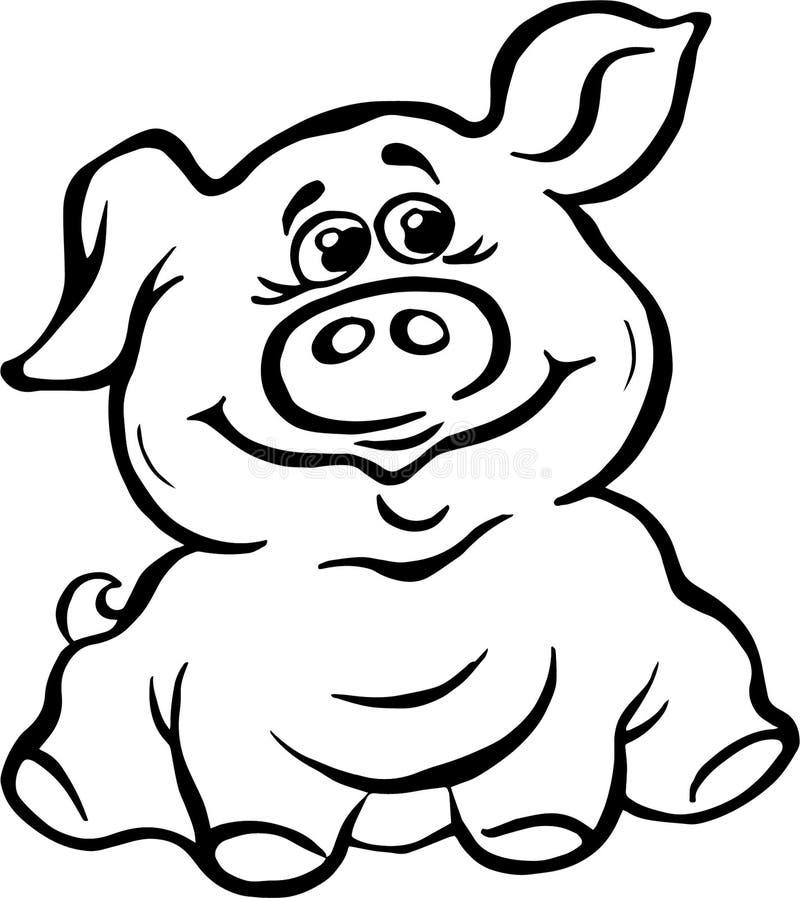 Vektor illustration, svartvit bild som är piggy, leende, glädje, realitet royaltyfri illustrationer