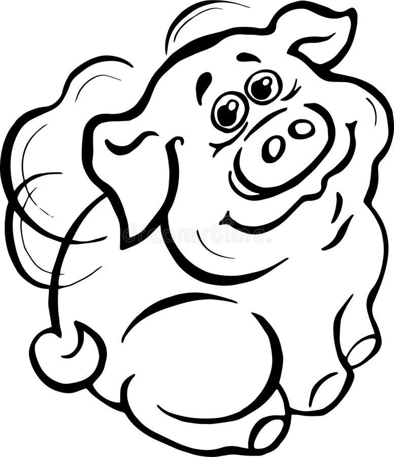 Vektor illustration, svartvit bild som är piggy, vingar bak baksidan som är bevingad, leende, glädje, realitet vektor illustrationer