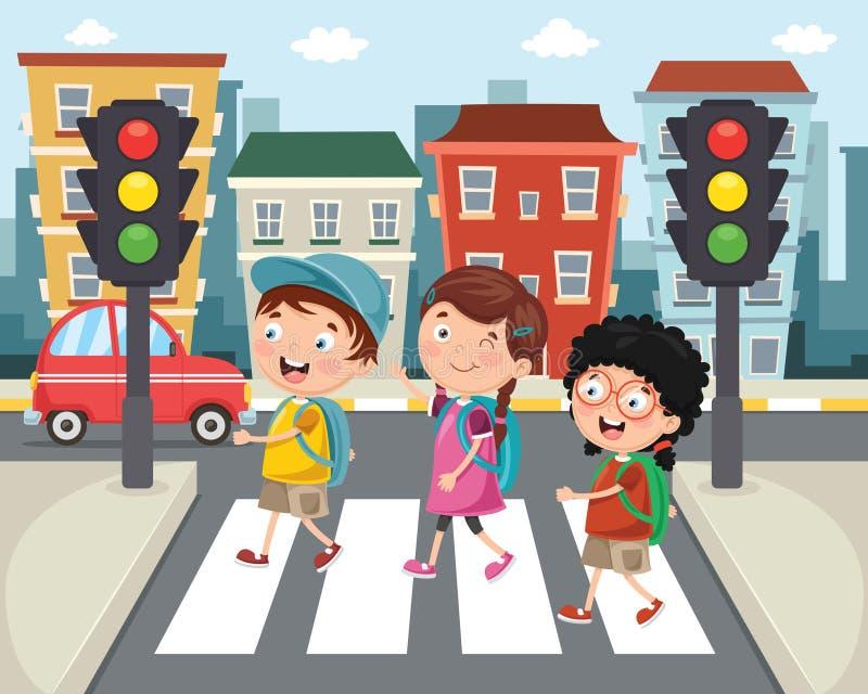 Vektor-Illustration von den Kindern, die über Zebrastreifen gehen lizenzfreie abbildung