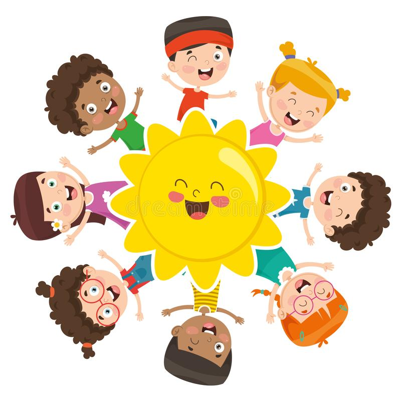 Vektor-Illustration von den Kindern, die um The Sun spielen stock abbildung