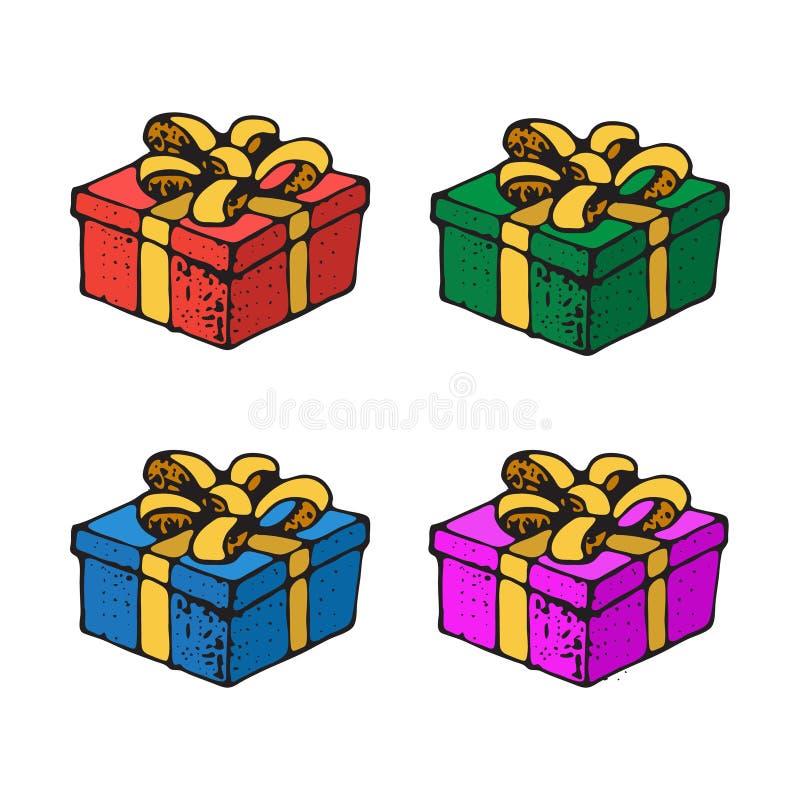 Vektor-Illustration von Geschenkboxen mit Band und Bogen für Geburtstags-Feier, Weihnachten, Valentinsgrüße, Partei, Jahrestag, H stock abbildung