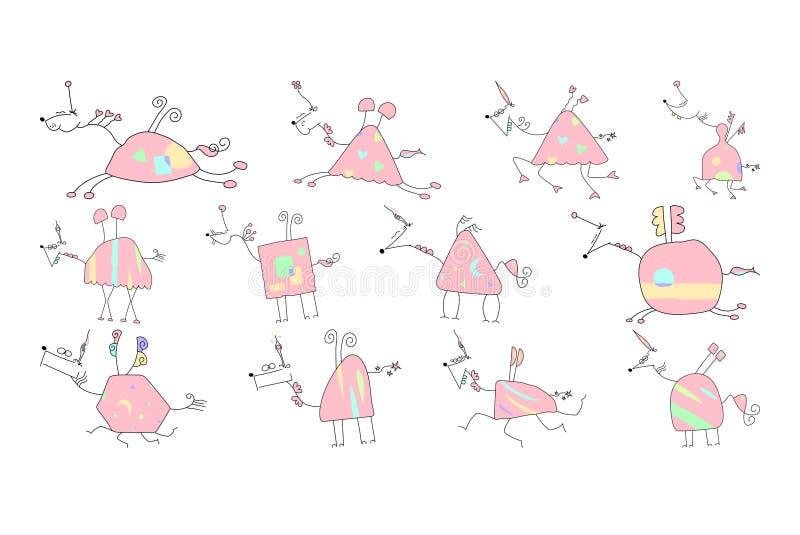 Vektor-Illustration von Hand gezeichneten Unicorn Doodle lizenzfreies stockfoto