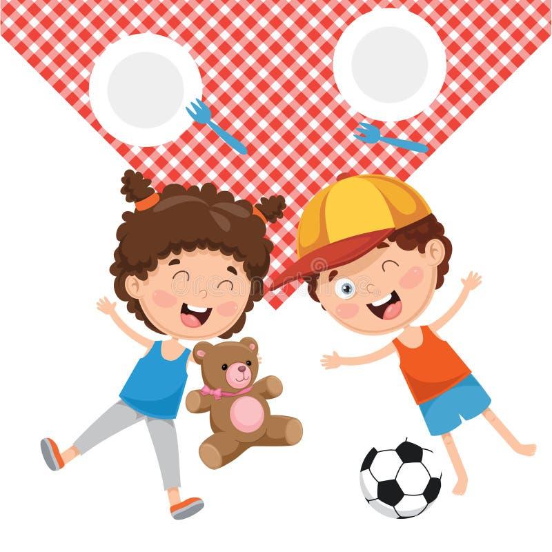 Vektor-Illustration von Kind-` s Picknick lizenzfreie abbildung