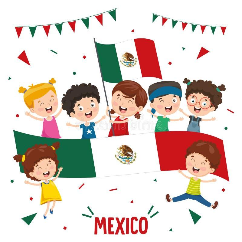 Vektor-Illustration von Kinderholding-Mexiko-Flagge vektor abbildung