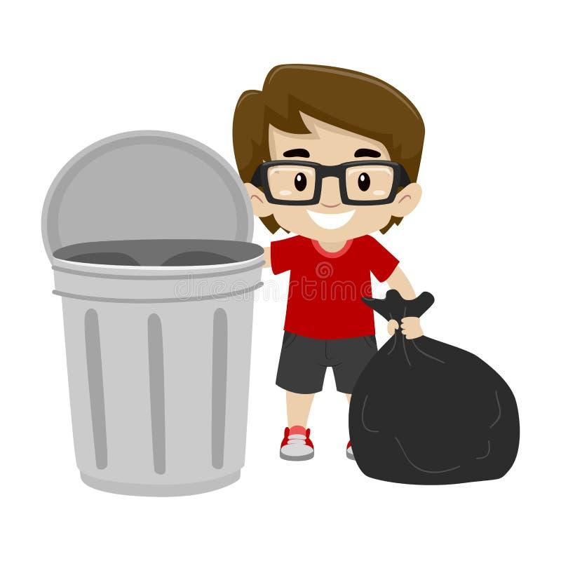 Vektor-Illustration von Little Boy, welches die Abfalltasche im Abfalleimer wirft vektor abbildung