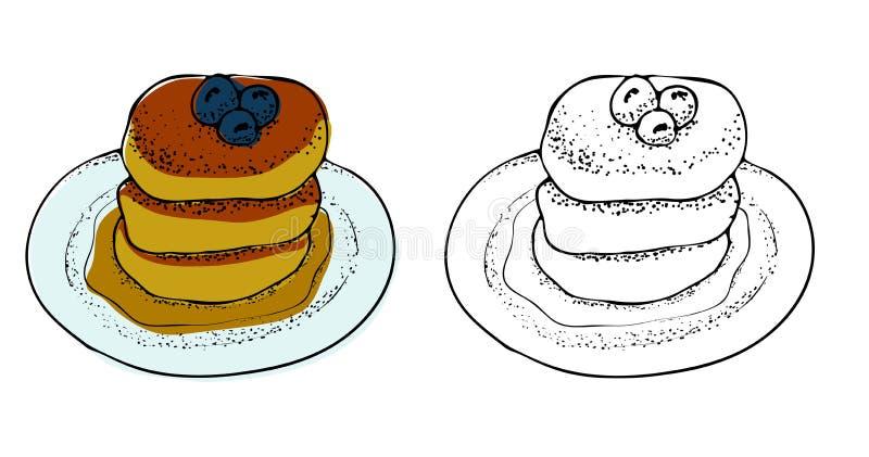 Vektor-Illustration von Pfannkuchen mit Ahornsirup vektor abbildung