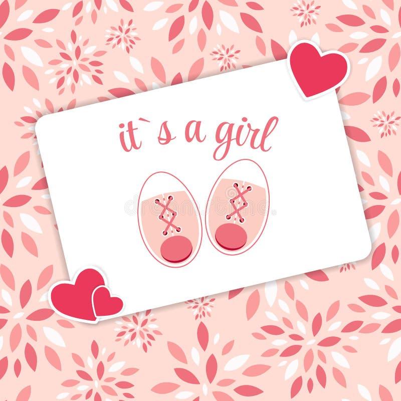 Vektor-Illustration von rosa Babyschuhen für neugeborenes lizenzfreie abbildung
