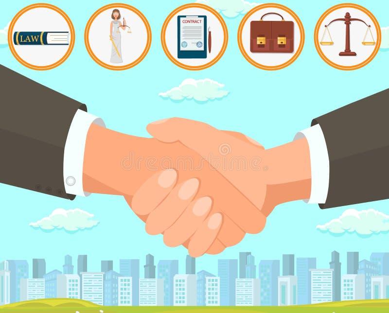 Vektor-Illustrations-Abkommen und ausarbeiten Vertrag stock abbildung