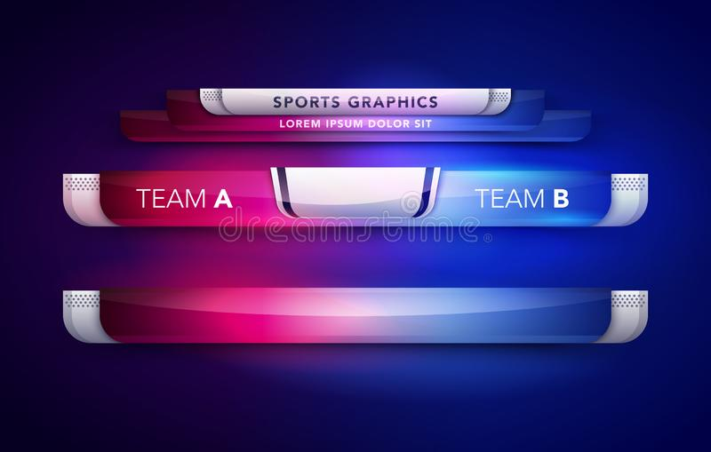 Vektor-Illustrations-Anzeigetafel-Team A gegen Sendungs-Grafik des Team-B und Bauchbinde-Schablone für Sport, Fußball und Fußball lizenzfreie abbildung