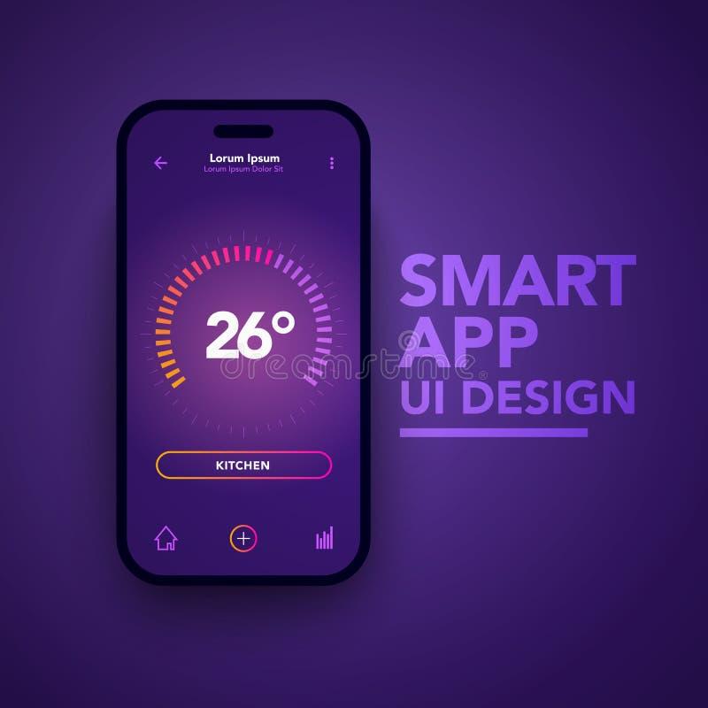 Vektor-Illustrations-Armaturenbrett UI und UX-Temperaturüberwachungs-Mitte-Entwurf Smart Home App-Schablone lizenzfreie abbildung