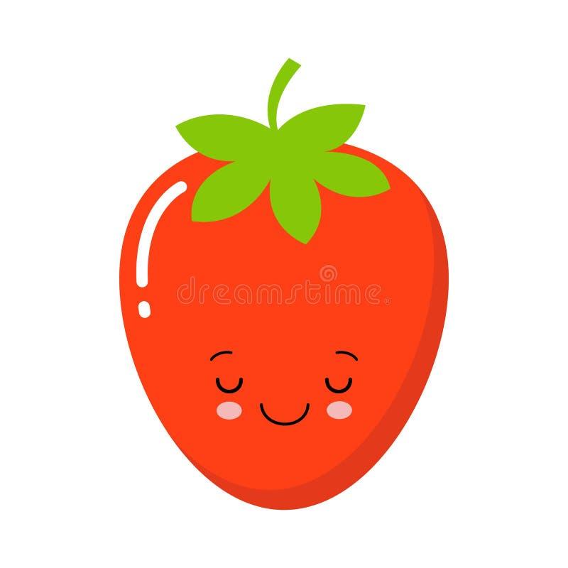 Vektor-Illustrations-flache Erdbeernetter Charakter lokalisiert auf weißem Hintergrund stock abbildung