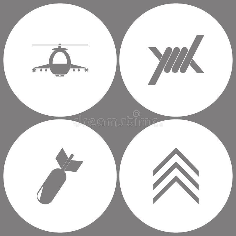 Vektor-Illustrations-gesetzte Büro-Armee-Ikonen Elemente des Militärhubschraubers, des Stacheldrahts, der Luftfahrt-Bombe und des lizenzfreie abbildung