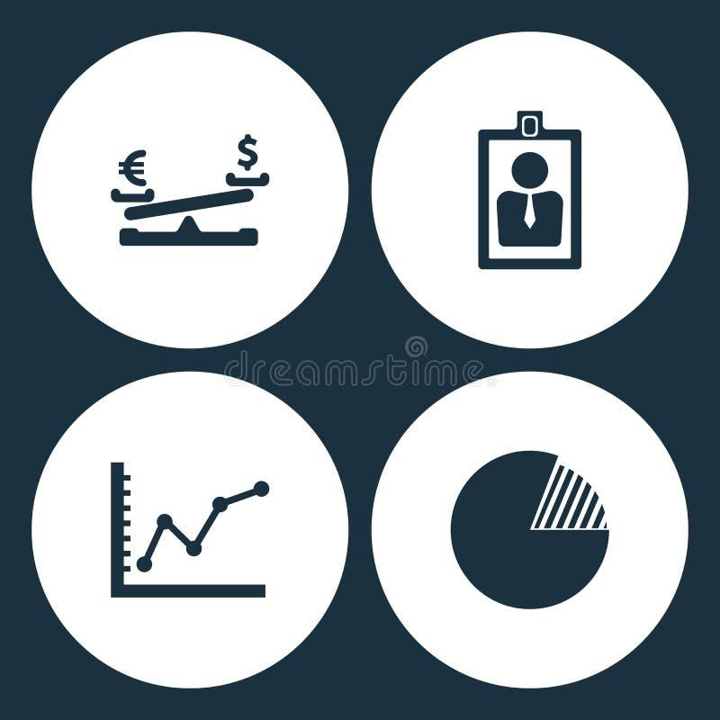 Vektor-Illustrations-gesetzte Geschäfts-Ikonen Element-Dollarmünze und -Euro balancieren, Kartenidentifikation, Diagramm oben und vektor abbildung